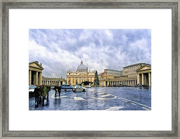 Storms Over St Peter's Basilica In Rome Framed Print by Mark Tisdale