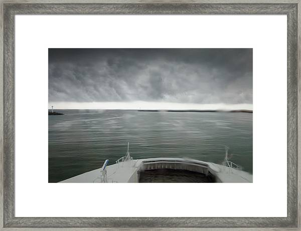 Stormy Departure Framed Print