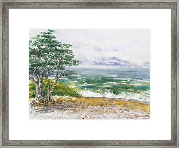 Stormy Morning At Carmel By The Sea California Framed Print