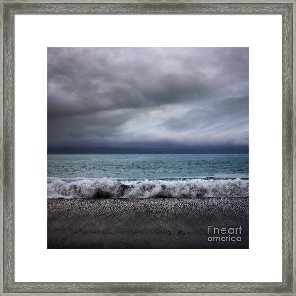 Stormy Sea And Sky Square Framed Print
