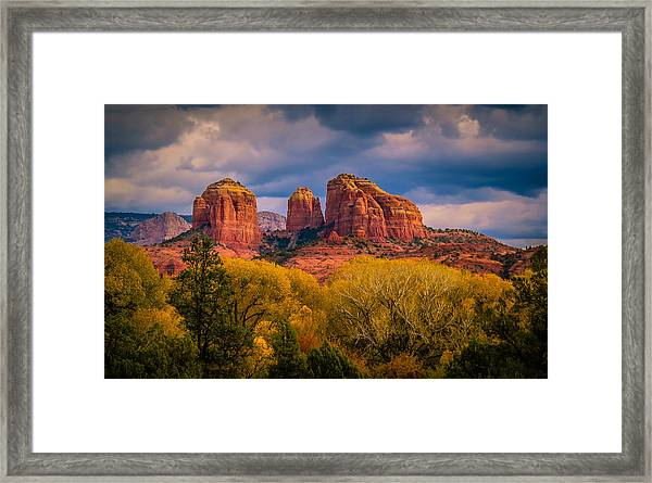 Stormy Skies Over Cathedral Rock Framed Print