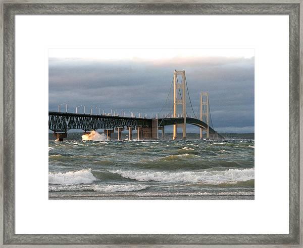 Stormy Straits Of Mackinac Framed Print