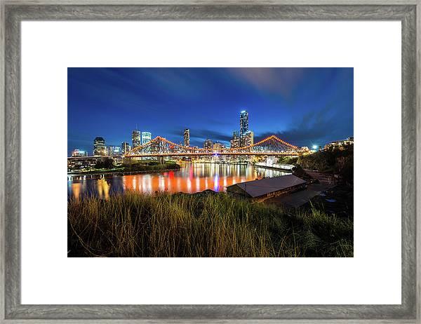 Story Bridge And Brisbane City During Framed Print