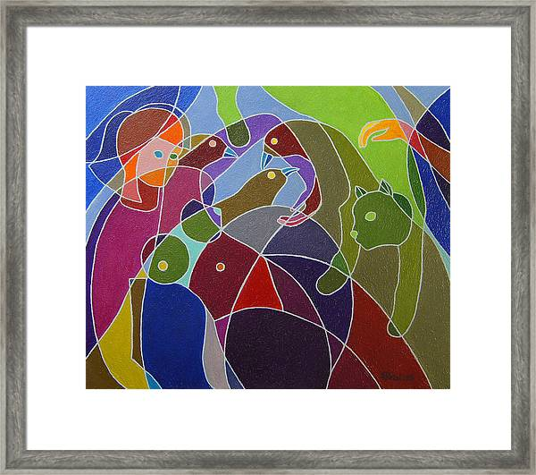 Story Told By Green Cat. Framed Print