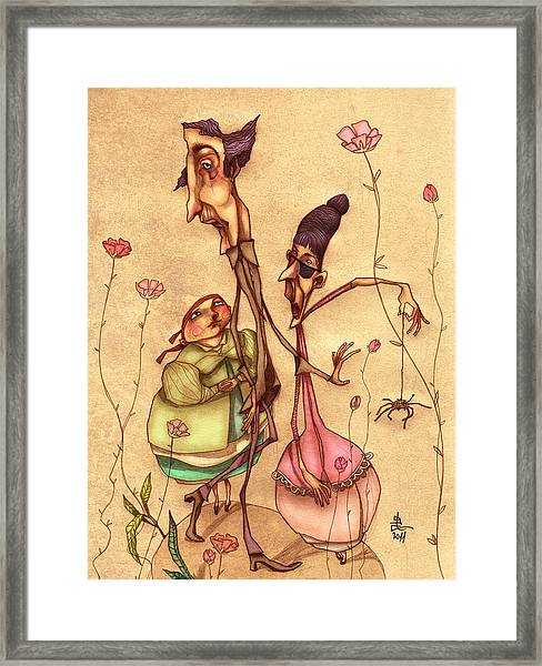 Strange Family Framed Print by Autogiro Illustration