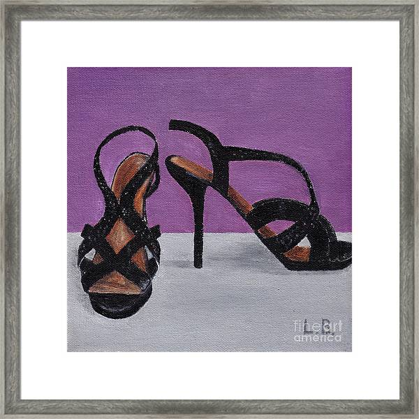 Strappy Black Heels For Maddy Framed Print