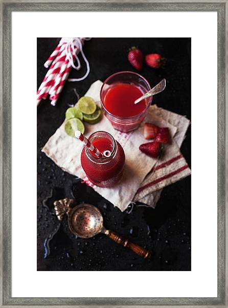 Strawberry Agua Fresca. Bottle And Glass Framed Print by One Girl In The Kitchen