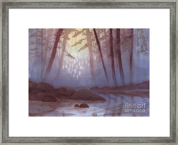 Stream In Mist Framed Print