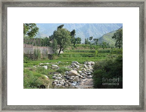 Stream Trees House And Mountains Swat Valley Pakistan Framed Print