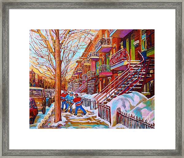 Street Hockey Game In Montreal Winter Scene With Winding Staircases Painting By Carole Spandau Framed Print