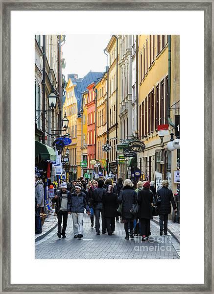 Street In Gamla Stan - The Old Part Of Stockholm - Sweden Framed Print