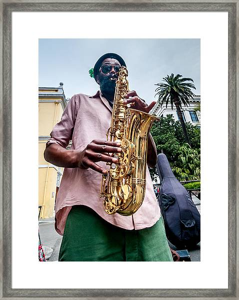 Street Jazz On Display Framed Print