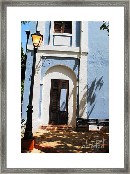Street Lamp And Blue Framed Print