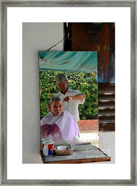 Street Side Barber Cuts Client Hair Singapore Framed Print