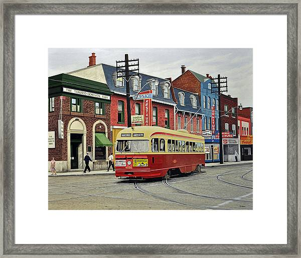 Streetcar On Queen Street 1963 Framed Print