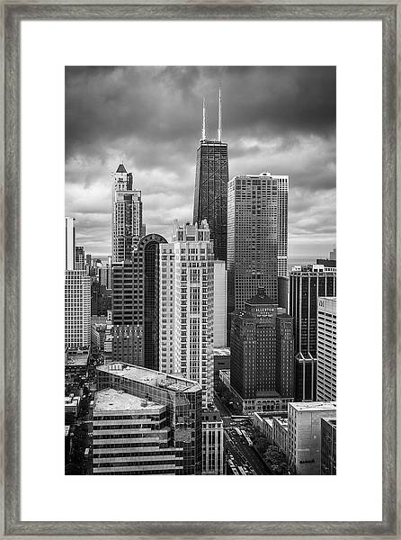 Streeterville From Above Black And White Framed Print