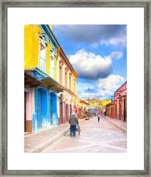Streets Of San Cristobal De Las Casas - Colorful Mexico Framed Print