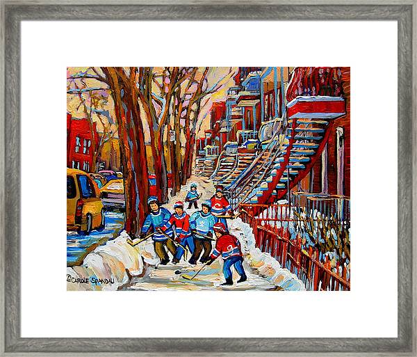 Streets Of Verdun Hockey Art Montreal Street Scene With Outdoor Winding Staircases Framed Print