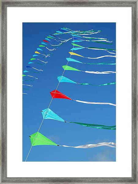 String Of Kites Framed Print