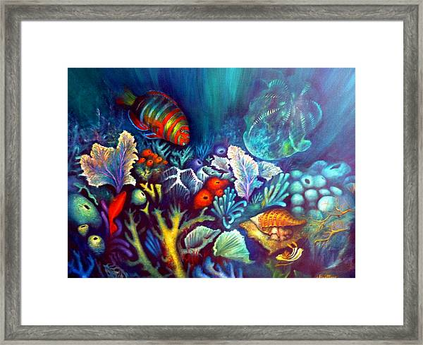 Framed Print featuring the painting Striped Fish by Lynn Buettner