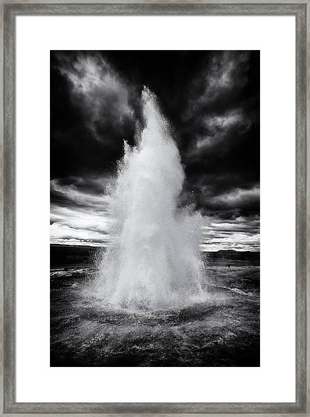 Strokkur Geyser Iceland Black And White Framed Print