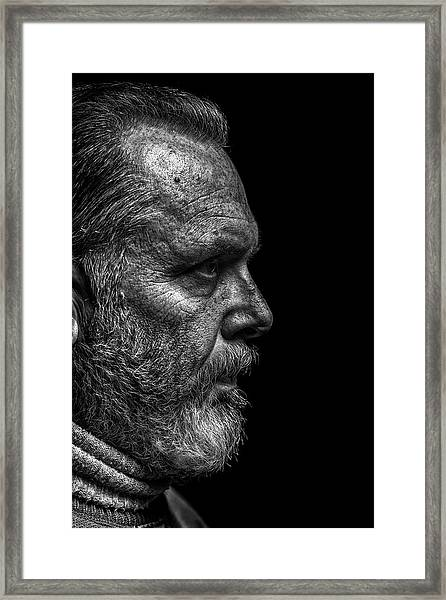 Strong B&w Portrait Of A Rugged Looking Framed Print by Cmannphoto