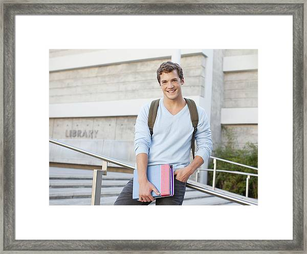 Student Standing On Steps Outdoors Framed Print by Sam Edwards