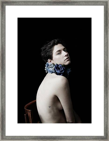 Studio Lit Portrait Of Androgynous Girl Framed Print by Felicity Mccabe