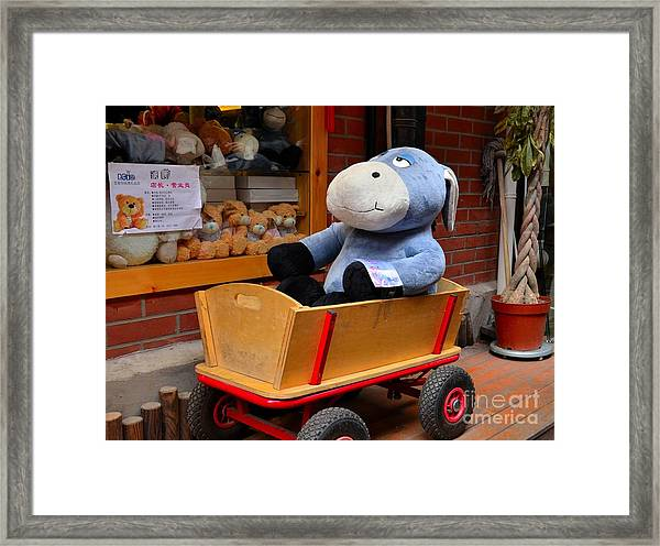 Stuffed Donkey Toy In Wooden Barrow Cart Framed Print