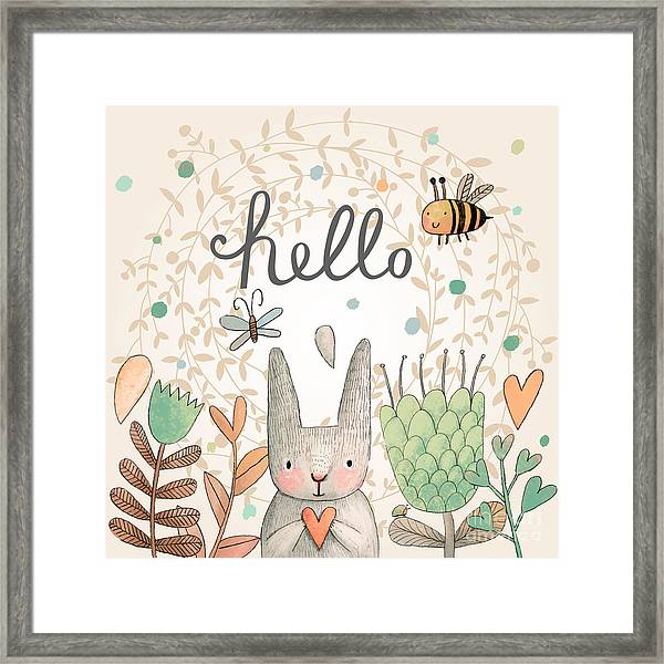 Stunning Card With Cute Rabbit Framed Print