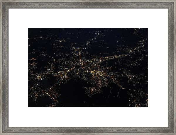 Stuttgart From The Air At Night Framed Print by (c) Florian Leist