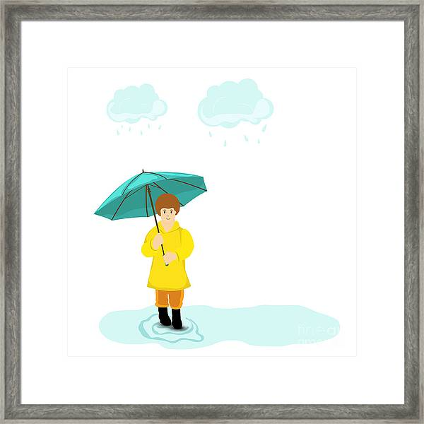 Stylish Girl Holding Green Umbrella On Framed Print