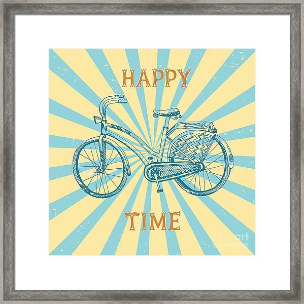 Stylish Hand Drawn Sketchy City Bike On Framed Print