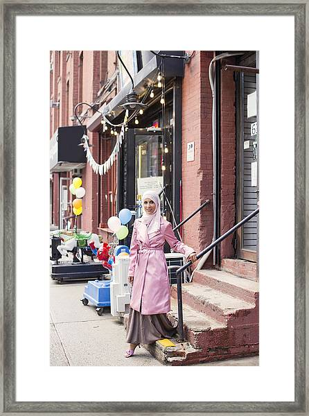Stylish #muslimgirl In Pink Framed Print by Muslim Girl