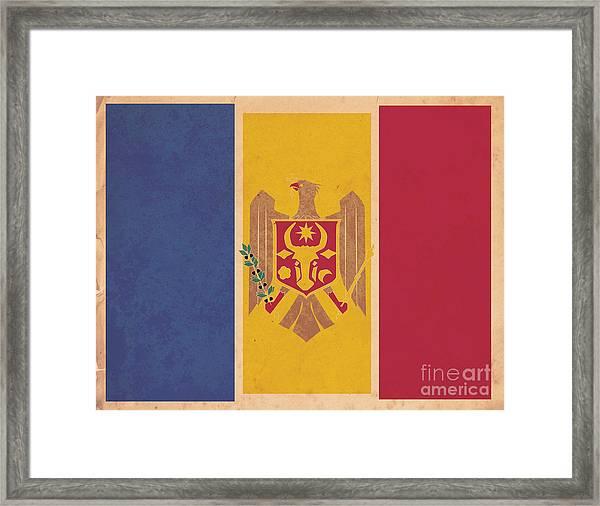 Stylized Moldovan Flag  Framed Print by Megan C
