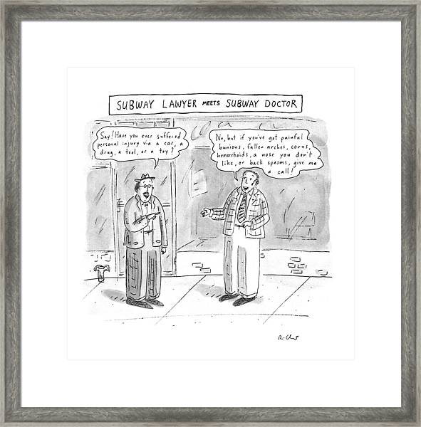 Subway Lawyer Meets Subway Doctor Framed Print