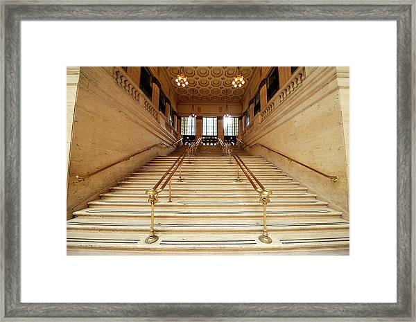 Subway Station Staircase,chicago Framed Print
