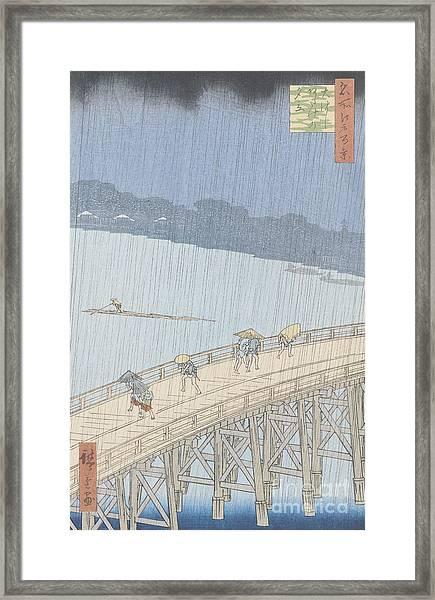 Sudden Shower On Ohashi Bridge At Ataka Framed Print