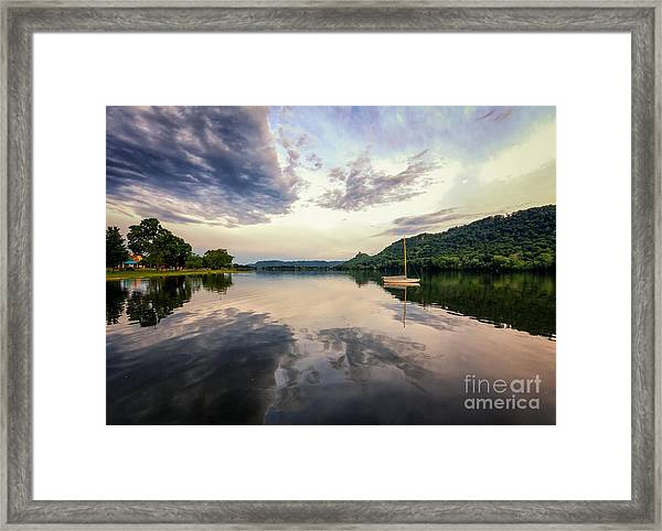 Framed Print featuring the photograph Sugarloaf Sailboat Evening by Kari Yearous