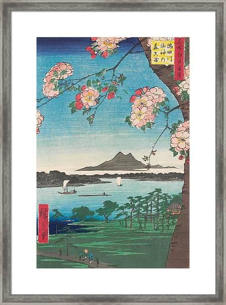 Suijin Shrine And Massaki On The Sumida River Framed Print