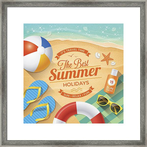 Summer Background With Beach Summer Accessories Framed Print by Paci77