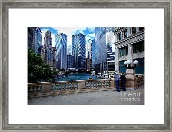 Summer Breeze On The Chicago River - Color Framed Print