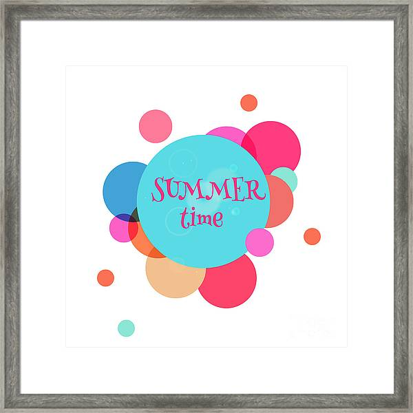 Summer Colorful Background With Text - Framed Print