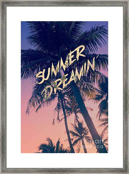 Summer Dreamin Tropical Island Palm Trees Sunrise Framed Print