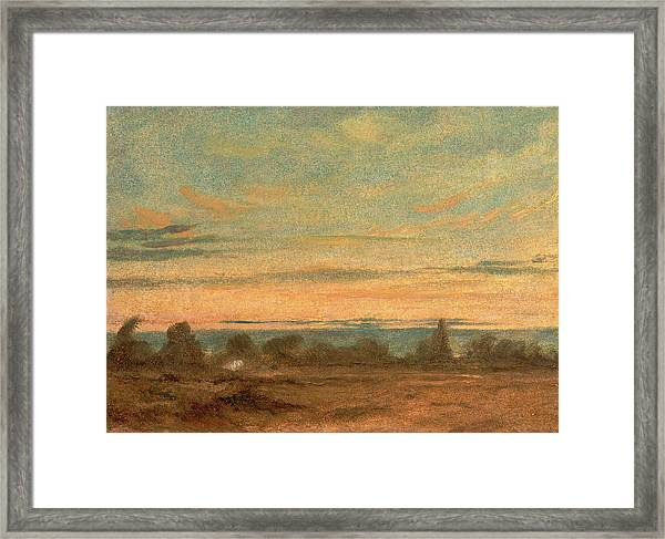 Summer - Evening Landscape, Attributed To John Constable Framed Print by Litz Collection