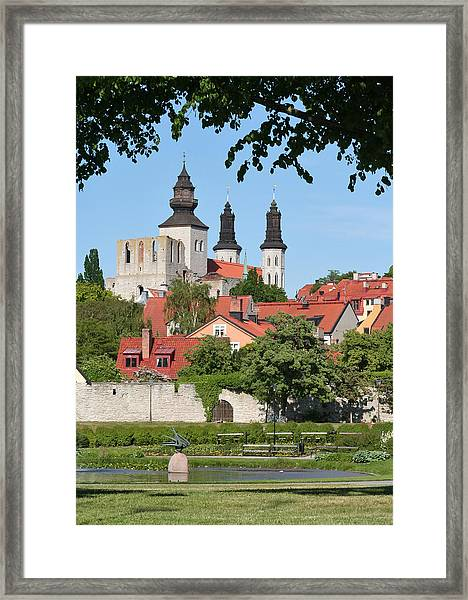 Summer Green Medieval Town Framed Print