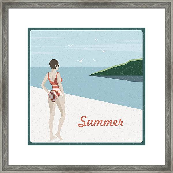 Summer Holidays Retro Poster Woman The Framed Print