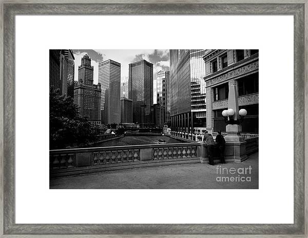 Summer On The Chicago River - Black And White Framed Print