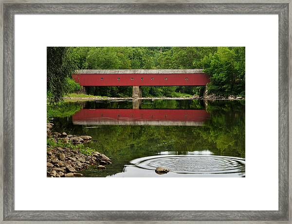 Summer Reflections At West Cornwall Covered Bridge Framed Print