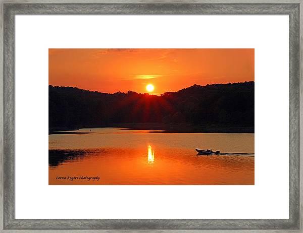 Summer Star Burst Sunset With Signature Framed Print